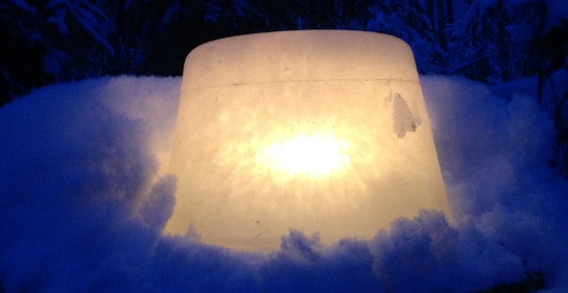Homemade ice luminary along our trail